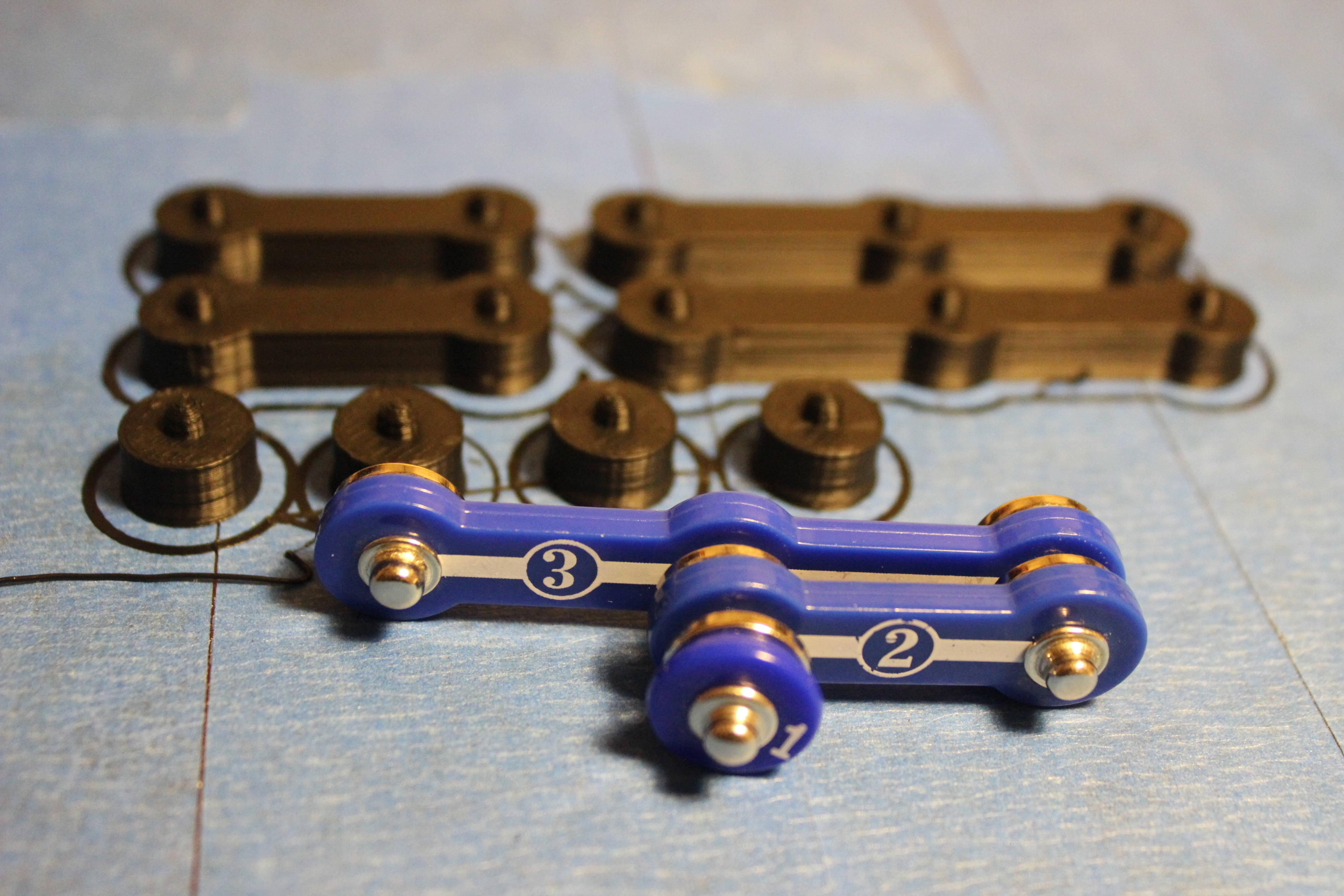 3D printed Snap Circuit pieces
