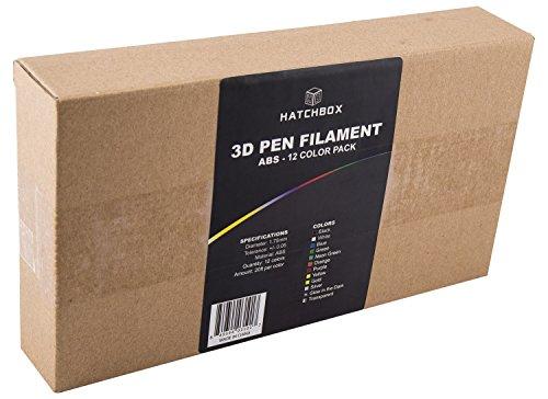 HATCHBOX-3D-PEN-ABS175-SMP-ABS-3D-Pen-Filament-Dimensional-Accuracy-005mm-044lbs-Total-175mm-12-Color-Sample-Pack-20-Feet-Per-Color-0-1
