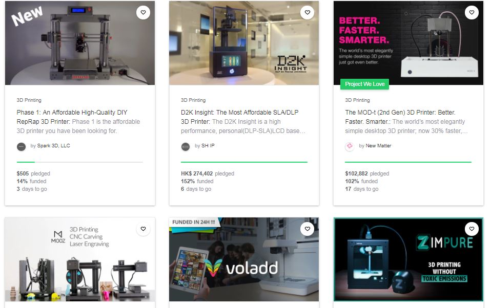 selection of crowdfunding printers