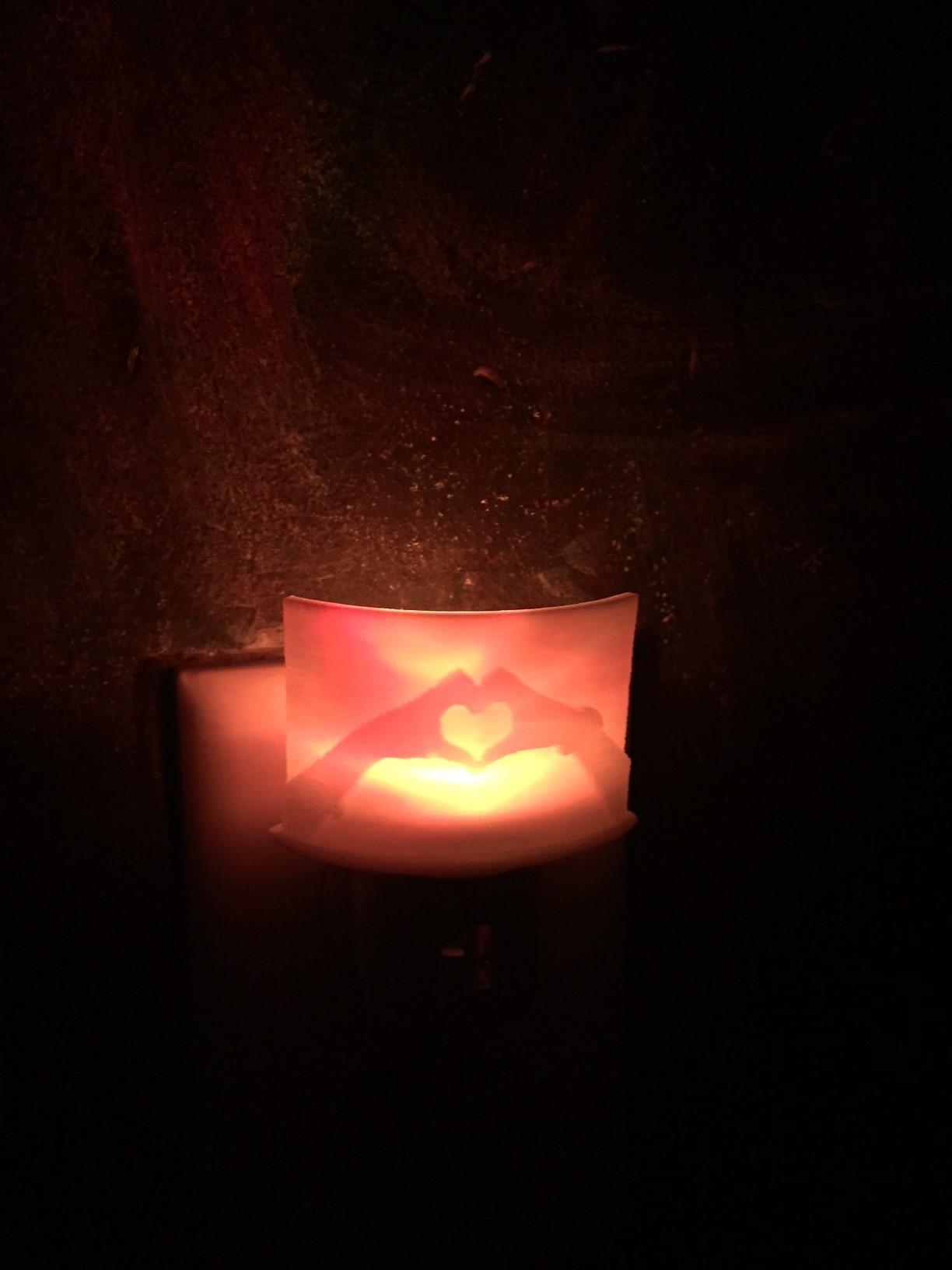 lithophane night light-lit red