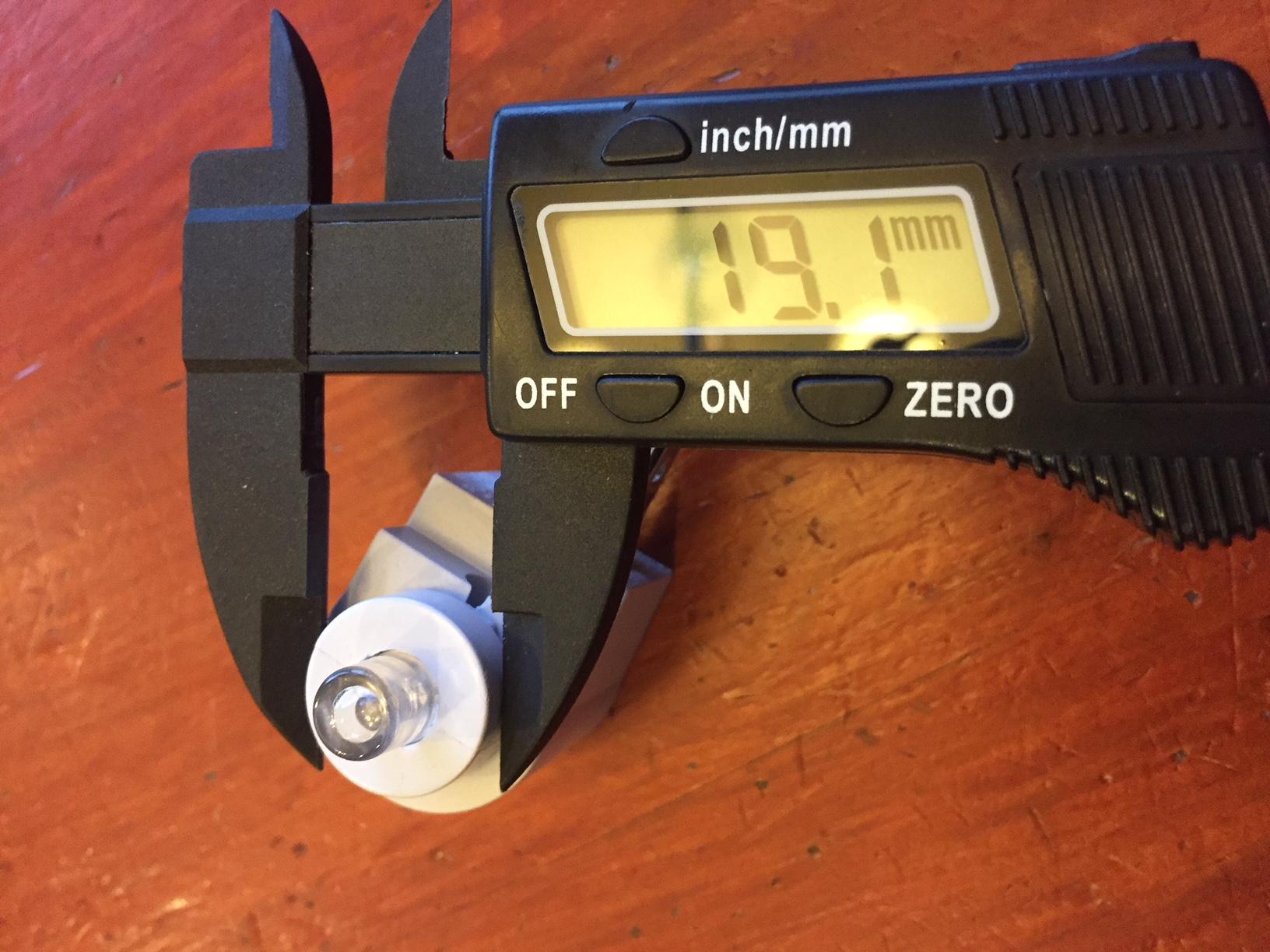 measuring the LED barrel diameter