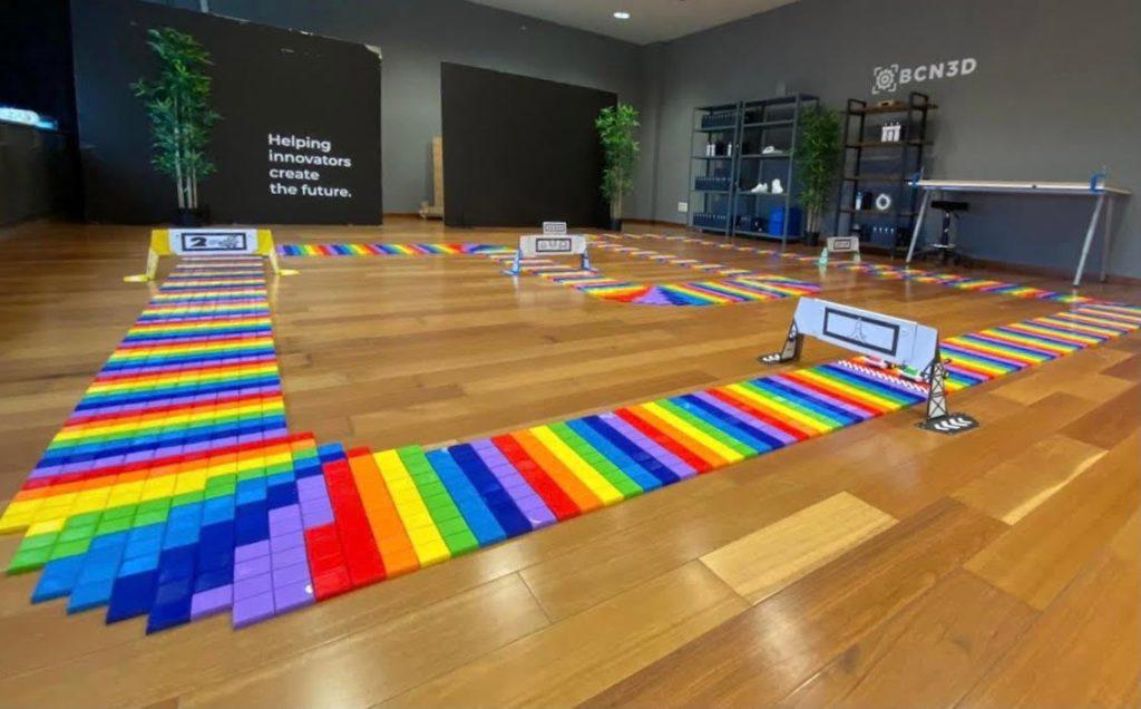 3D printed Rainbow Road at BCN3D HeadQuartes in Barcelona